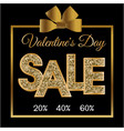 valentines day sale gold gift box black backgroun vector image vector image