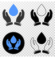 water drop care hands eps icon with contour vector image