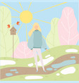 young woman walking in spring park season change vector image vector image