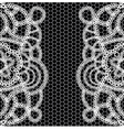 seamless black background with white lace vector image