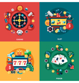 Casino Games Flat Icons Square Composition vector image