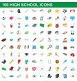 100 high school icons set cartoon style vector image