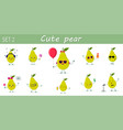 a set of ten nice green pear characters in vector image