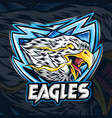an eagle with eye fire as an es-port logo vector image vector image