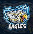 an eagle with eye fire as es-port logo vector image vector image