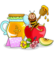 apple and honey vector image vector image
