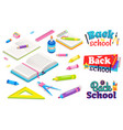 back to school with stationery book and notebook vector image vector image