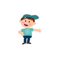 cartoon character white boy with blue cap showing vector image vector image