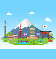 cartoon japan travel infographic card poster vector image vector image