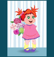 cartoon little girl with ginger hair wearing pink vector image