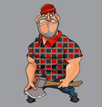 cartoon man big guy with an ax in his hand vector image