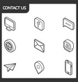 contact us outline isometric icons vector image