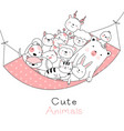 Cute baanimals cartoon hand drawn style