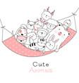 cute baby animals cartoon hand drawn style vector image vector image