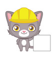 cute gray cat character with a construction hat vector image vector image