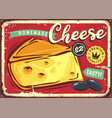 delicious cheese vintage tin sign vector image vector image