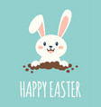 easter card with rabbit in hole vector image vector image