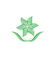 green flower logo vector image vector image
