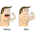 Gym before and after cartoon vector image