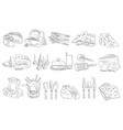 hand drawn set different types cheese vector image