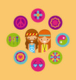 hippies scenery cartoon vector image vector image