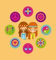 hippies scenery cartoon vector image