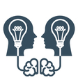 Intellectual property and ideas - head with lamp vector image