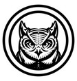 monochrome with owl head vector image vector image