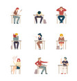 naughty pupils sitting at school desk vector image