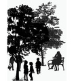 people walk in the park vector image vector image
