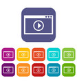 program for video playback icons set vector image vector image