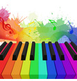 rainbow colored piano keys musical notes and w vector image
