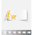 realistic design element man with trolley vector image