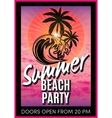 retro poster with summer beach party vector image vector image