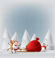 santa claus with deers and snowman vector image vector image