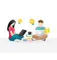 school students man woman sitting using notebook vector image vector image