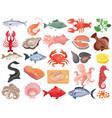 Seafood flat icons big set
