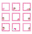 set cute colorful photo frame with baicons vector image vector image