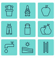 set of 9 agriculture icons includes stairway jug vector image vector image