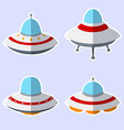 set of colorful alien spaceships isolated on white vector image