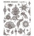 Set of henna floral and animal elements based on vector image vector image