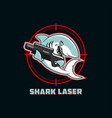 shark with laser gun on target sign vector image