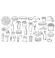 sketch fast food junk street fastfood meals set vector image vector image