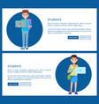students posters online education concept vector image vector image