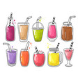 summer smoothie fruits cold healthy drinks vector image vector image