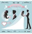 Wedding decor setFlat silhouette bridegroom vector image
