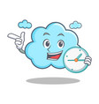 with clock cute cloud character cartoon vector image