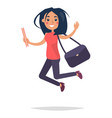 young bouncing girl student flat and shadow theme vector image vector image