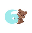 funny cute brown bear animal and number six vector image