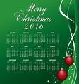 2016 Merry Christmas Calendar vector image vector image